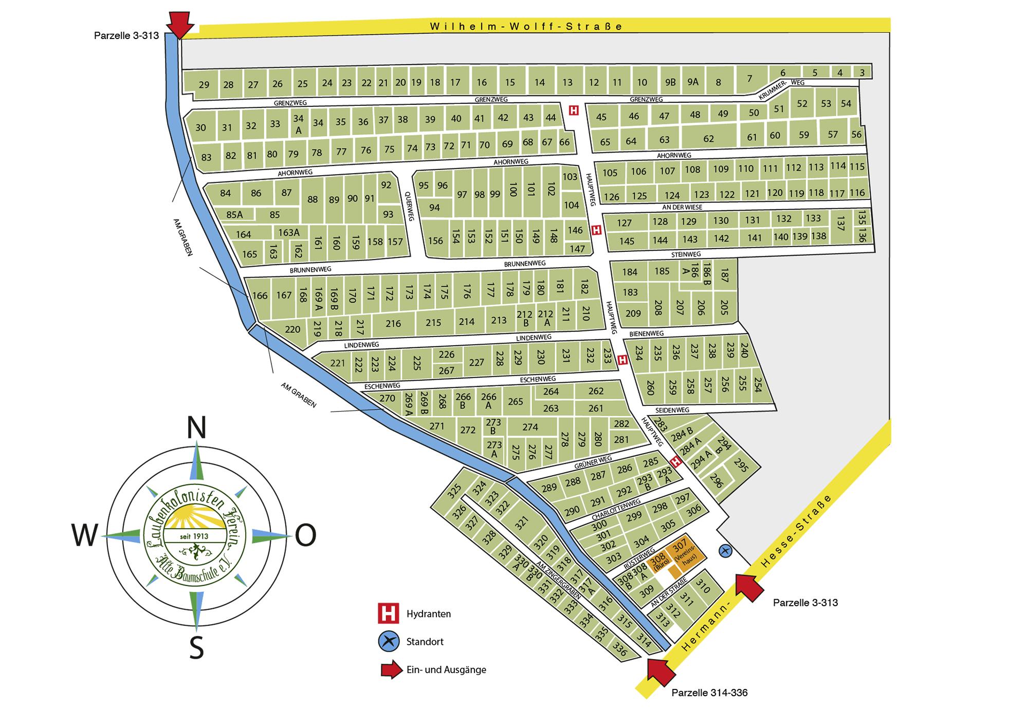 Lageplan der Gartenanlage Alte Baumschule